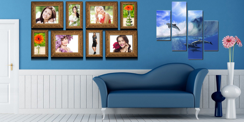 Modern living room interior design - gallery images and wall stickers on the blue wall