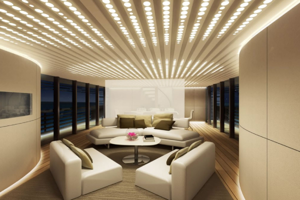 Modern and elegant living room with LED lights
