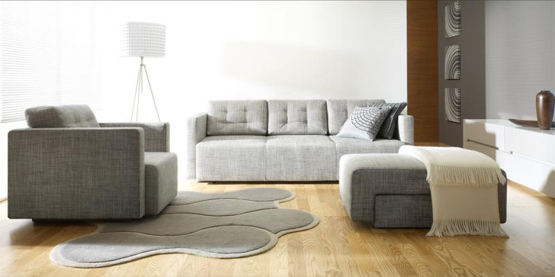 Modern ash color sofa set with cushions