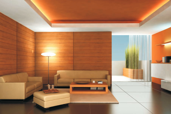 Perfect family room interior with furniture on orange background