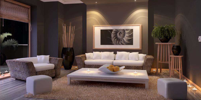 Beautiful interior decoration of wooden living room in low light
