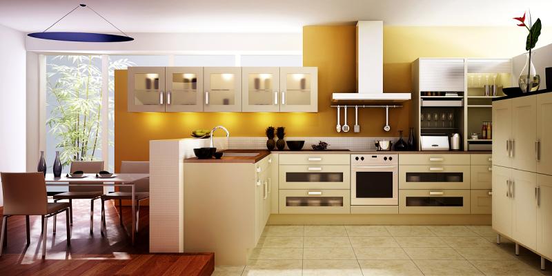 Interior design of the spacious modern kitchen